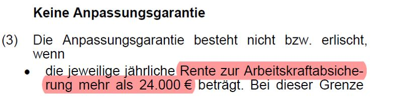 Begrenzung der Nachversicherung auf 2.000€ - Generali BU